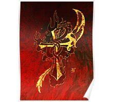 Golden Dragon Cross Poster