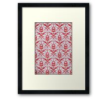 Red and White Damask Pattern Framed Print