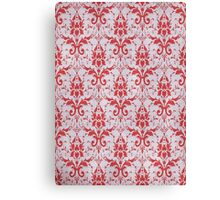 Red and White Damask Pattern Canvas Print