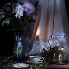 Vase with Flowers and Tea Pot by FrankSchmidt