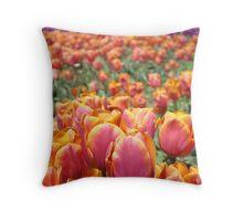 Tulip Festival Fine Art Prints Pink Orange Tulips Floral Throw Pillow