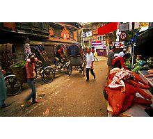 Morning street scene, Kathmandu Photographic Print