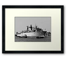 Warship HMS Bulwark B&W Framed Print
