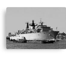 Warship HMS Bulwark B&W Canvas Print