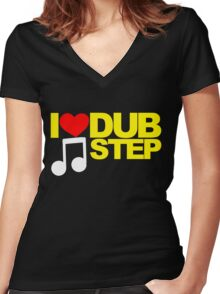 I LOVE DUBSTEP (YELLOW)  Women's Fitted V-Neck T-Shirt