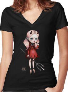 Little Krampus Women's Fitted V-Neck T-Shirt