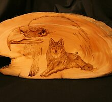 PYROGRAPHY: The Eagle & The Wolf by aussiebushstick