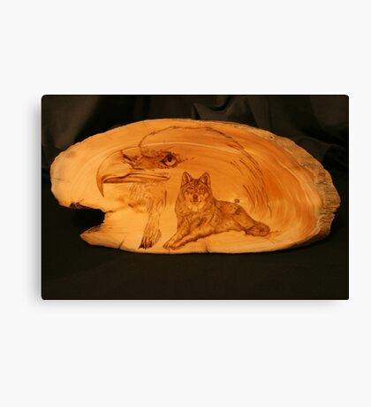 PYROGRAPHY: The Eagle & The Wolf Canvas Print