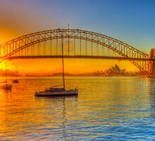 Sydney Harbour bridge - gold to blue by Chris Brunton