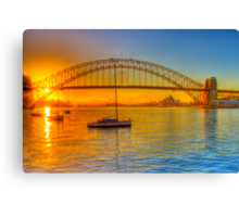 Sydney Harbour bridge - gold to blue Canvas Print