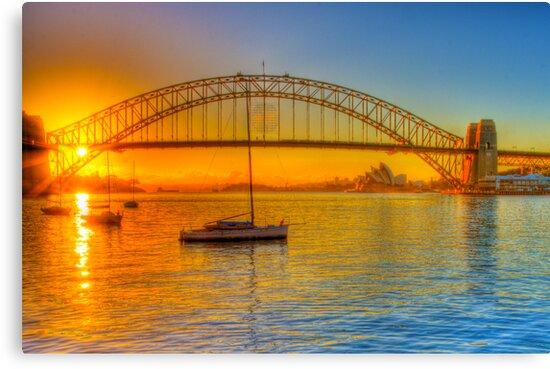 Sydney Harbour bridge - gold to blue by Chris Brunton