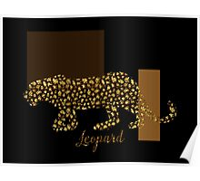 Golden Leopard Modern Gilt wild cat, gold black brown Poster