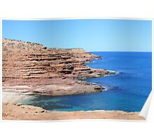 Ocean Cliffs in Kalbarri Poster
