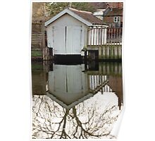 White boat-house reflection Poster