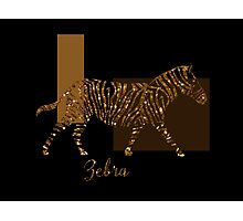 Modern Golden Zebra, gold black brown Photographic Print