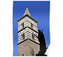 Bell tower & statue, Cathedral of San Lorenzo, Viterbo, Italy Poster