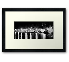 Port Fairy Boat Harbour at Night B&W Framed Print