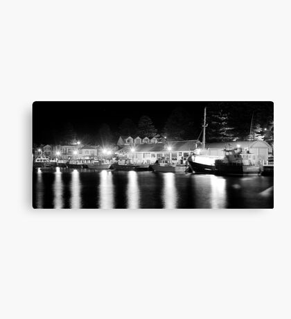 Port Fairy Boat Harbour at Night B&W Canvas Print