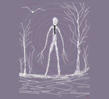 dark creepy slender man in forest on Halloween by Tia Knight Kids Tee