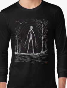 dark creepy slender man in forest on Halloween by Tia Knight Long Sleeve T-Shirt