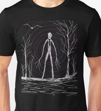 dark creepy slender man in forest on Halloween by Tia Knight Unisex T-Shirt