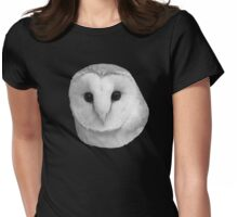 Curious Barn Owl (b&w) Womens Fitted T-Shirt