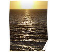 A Silver way to the Sun at a Golden Horizon-  El Camino Argénteo al Sol en un Horizonte Dorado Poster