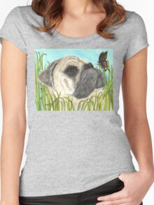 Pug Dog Butterfly Animals Cathy Peek Art Women's Fitted Scoop T-Shirt
