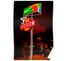 5th Avenue liquor neon sign Poster