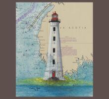 Cape Sable Lighthouse NS Canada Map Cathy Peek Art One Piece - Short Sleeve