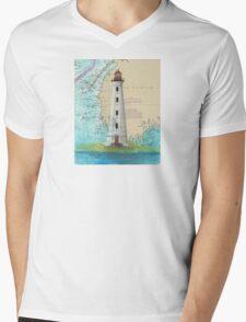 Cape Sable Lighthouse NS Canada Map Cathy Peek Art Mens V-Neck T-Shirt