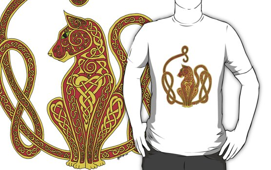 Red and Gold Celtic Cat Tee by ingridthecrafty