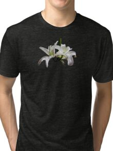 Two Delicate White Lilies Tri-blend T-Shirt