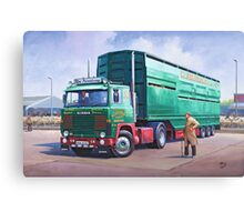 Scania livestock wagon. Canvas Print