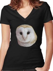 Curious Barn Owl  Women's Fitted V-Neck T-Shirt