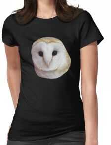 Curious Barn Owl  Womens Fitted T-Shirt