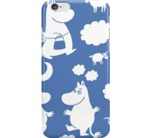 Moomintroll tiled (blue) iPhone Case/Skin