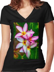 Pink Plumeria Women's Fitted V-Neck T-Shirt