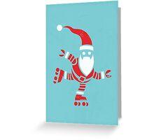 Roller Skating Robot Santa Greeting Card