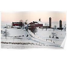 Winter Snow Farm Setting in Pennsylvania Poster