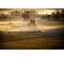 Amish farms in Morning Mist in Lancaster Co PA Photographic Print