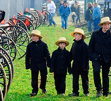 Amish Boys Walking Through Mudsale by KellyHeaton