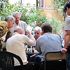 men playing chess by Anne Scantlebury