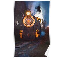 Steam Engine on the Track Poster