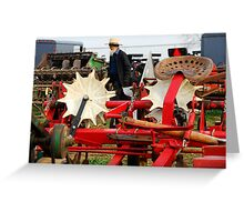 Amish Man and Farm Equipment Greeting Card