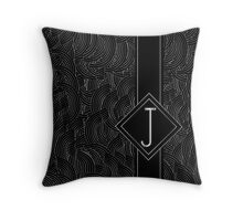 1920s Jazz Deco Swing Monogram black & silver letter J Throw Pillow