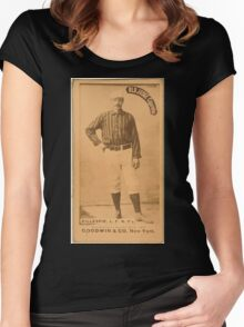 Benjamin K Edwards Collection Pete Gillespie New York Giants baseball card portrait 001 Women's Fitted Scoop T-Shirt