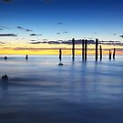 Port Willunga Jetty Ruin Sunset by Bill  Robinson