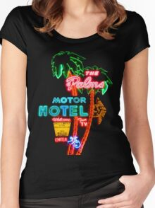 Palms Hotel Motel Neon Sign Retro Women's Fitted Scoop T-Shirt