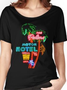Palms Hotel Motel Neon Sign Retro Women's Relaxed Fit T-Shirt